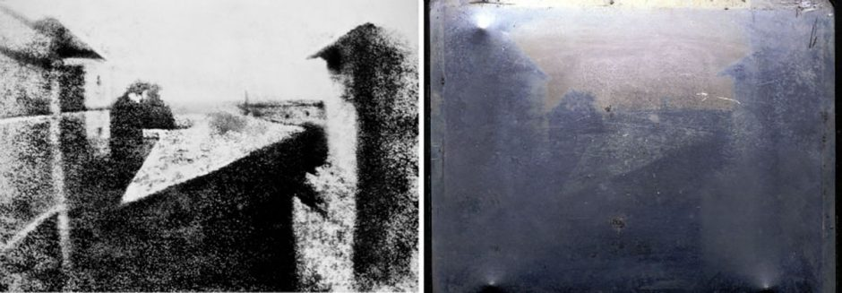 right: Plate of the first photo, Heliography by Nicéphore Niépce | left: The View from the Window at Le Gras [Public Domain]