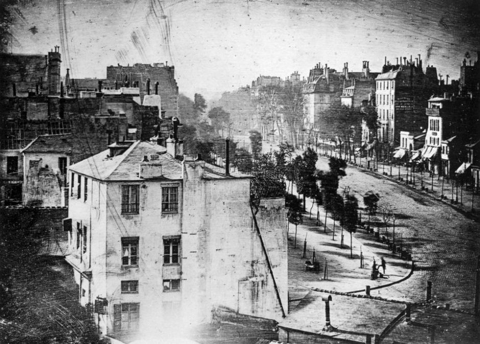 Boulevard du Temple, Paris, 3. Arrondissement, Daguerrotype (unmirrored) [Public Domain]