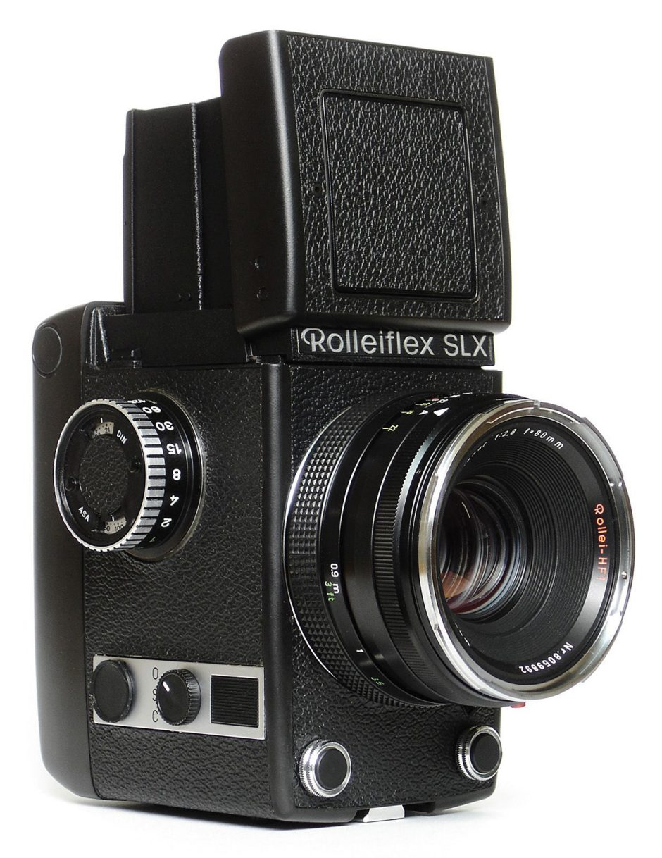 The first fully-automatic camera produced by the company Rollei in 1973: the Rolleiflex SLX