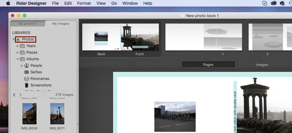 Accessing iPhoto or the Photos App from the ifolor Designer