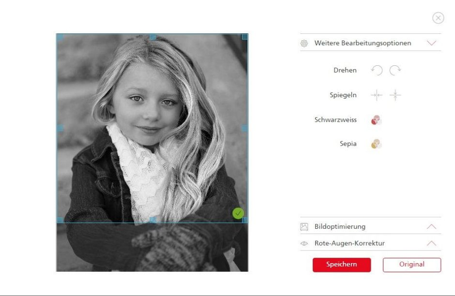 Photo-editing options on the ifolor website