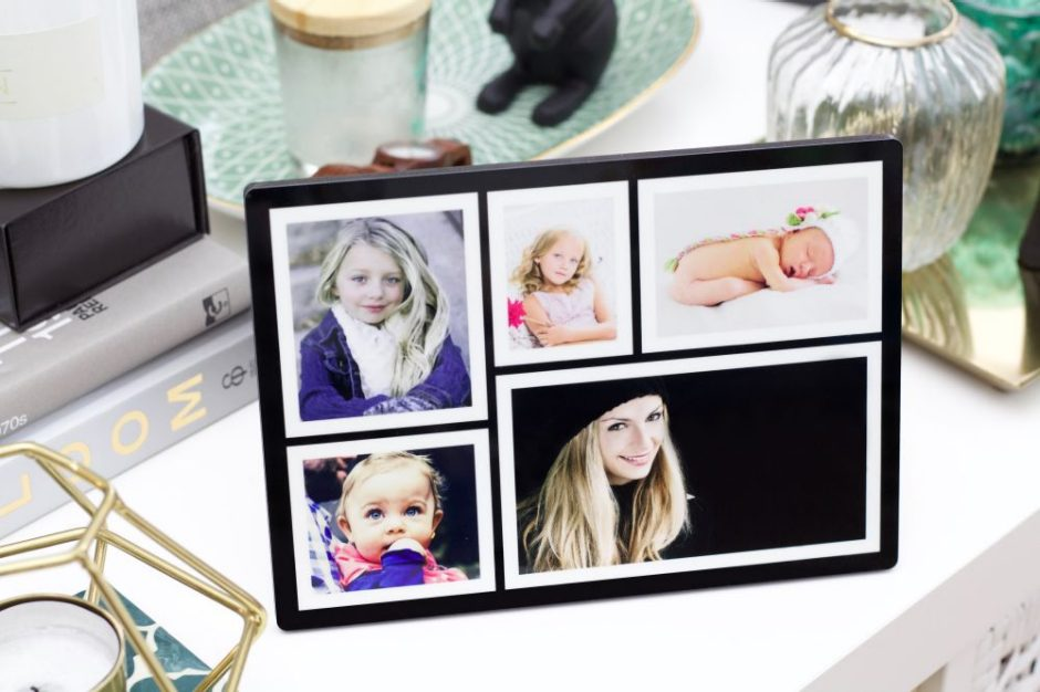 Photo collage on a photo display as a mother's day gift