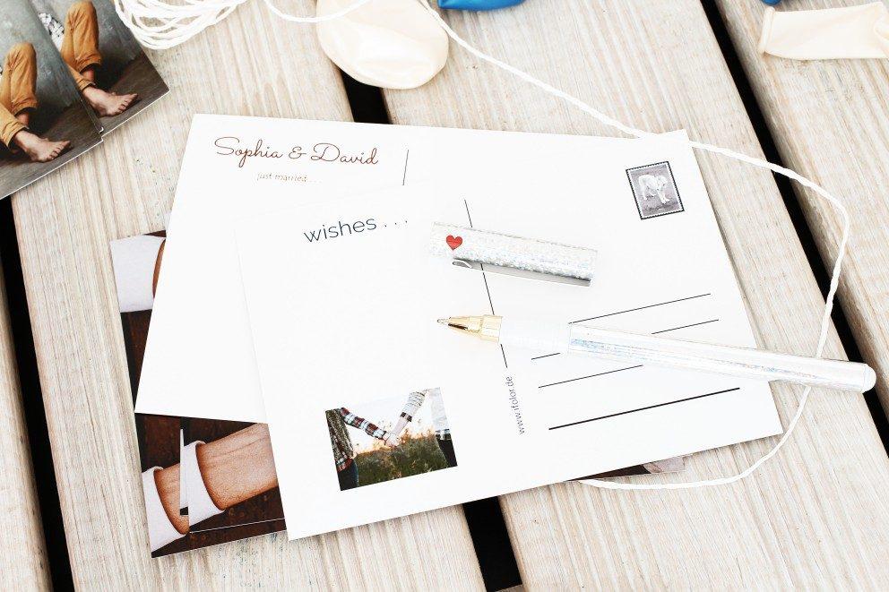 Create le vostre cartoline personalizzate per i palloncini nuziali