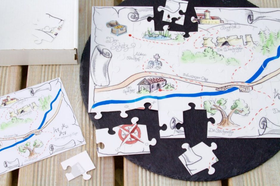 Giving the kids the treasure map in the form of a photo puzzle will make the treasure hunt that much more thrilling