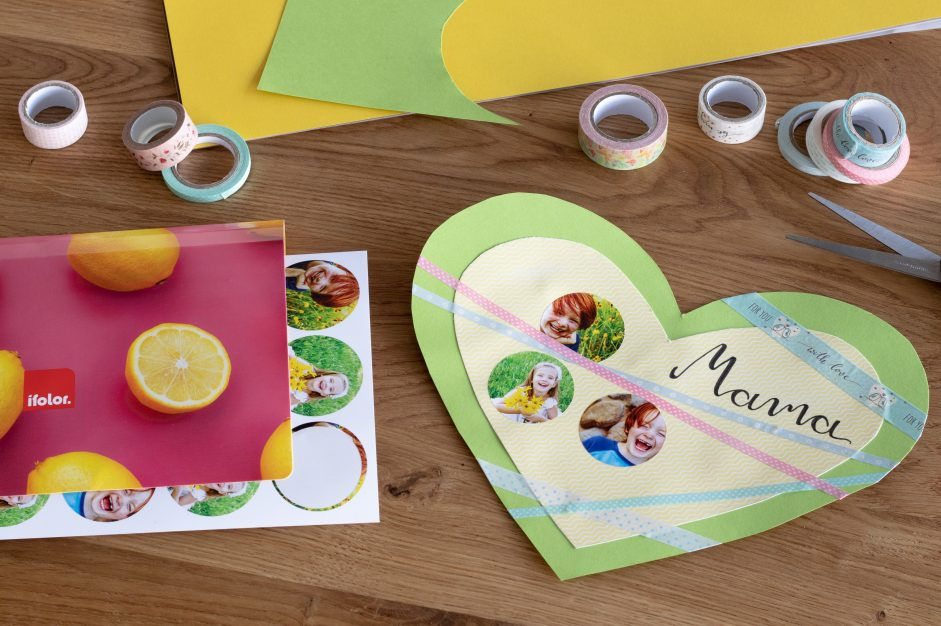 A fold-out heart photo collage for Mother's Day