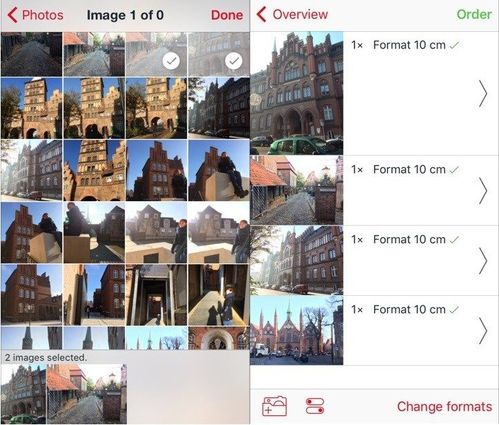 Selecting photos and the format with the ifolor Digital Photos app