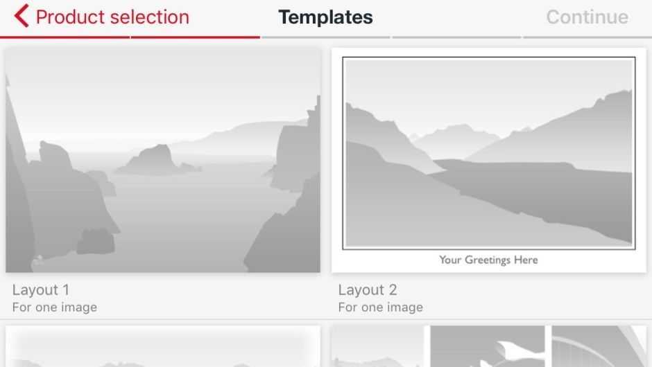 Templates for postcard design with one or more images