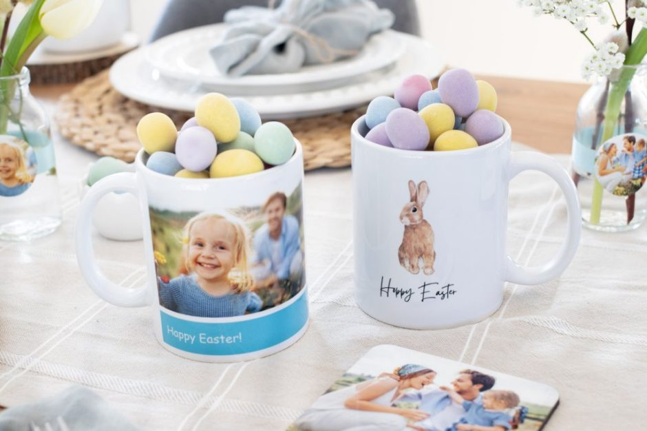 Easter-themed photo mugs - a personalised gift for your host