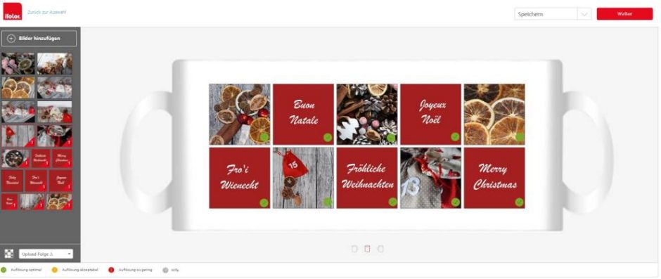 "Designing an ifolor Christmas photo mug using the layout ""Collage, white"""